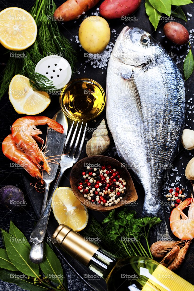 Delicious Fresh Fish And Seafood On Dark Vintage Background Fish Fish Food Photography Fresh Fish Photography Food