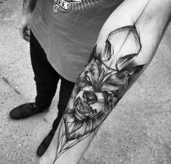 Sketch Style Wolf Tattoo by Inez Janiak