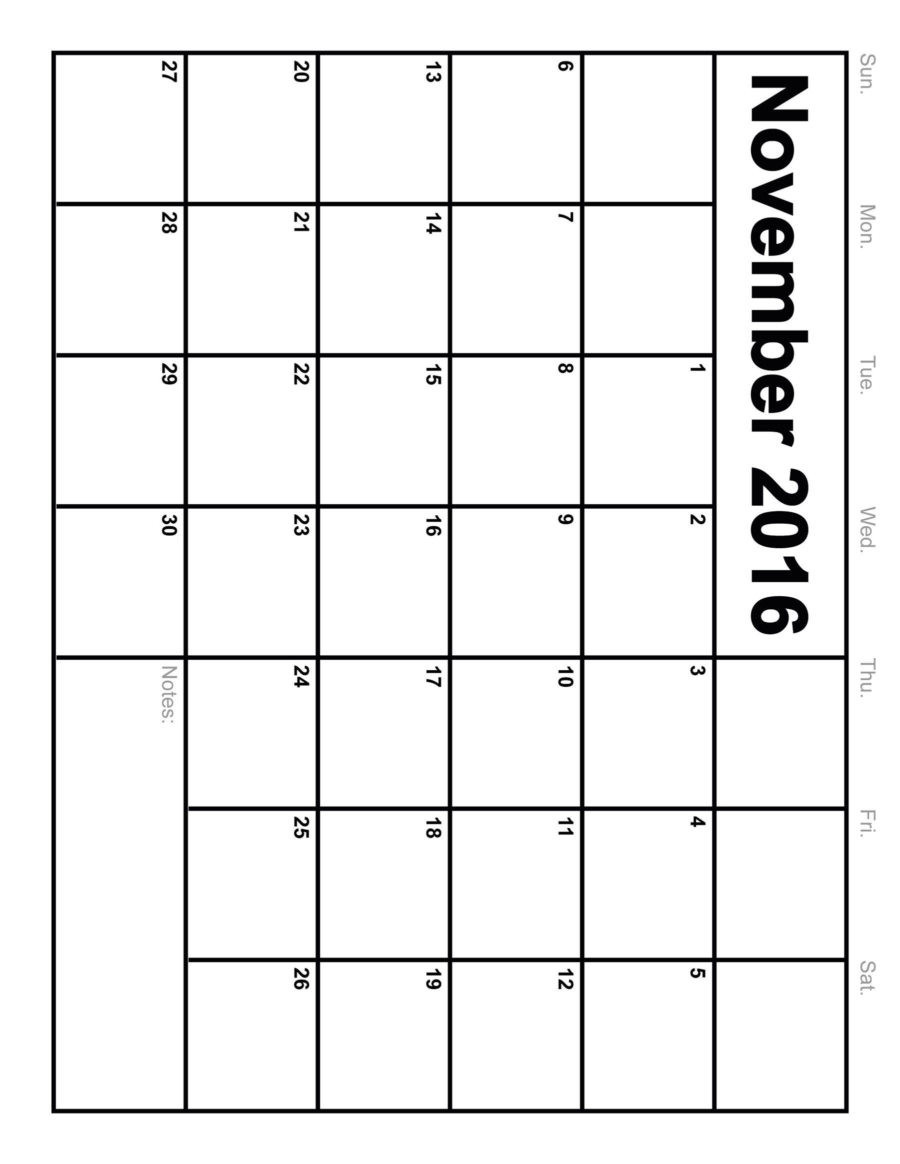 November  Calendar Printable Monthly Blank Calendar