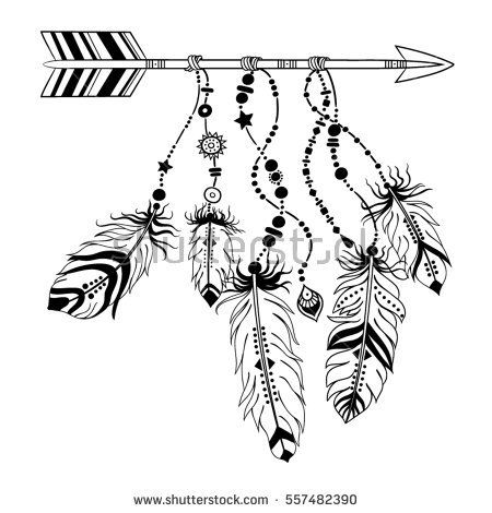 vector illustration with tribal frame with ethnic arrows and