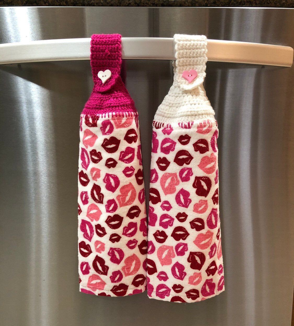 Crochet top kitchen towel, Hanging dish towel, Button top hand towel, Valentine's Day, Gift for her #dishtowels