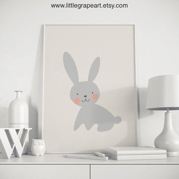 Bunny print bunny wall art rabbit art rabbit poster bunny | Children ...