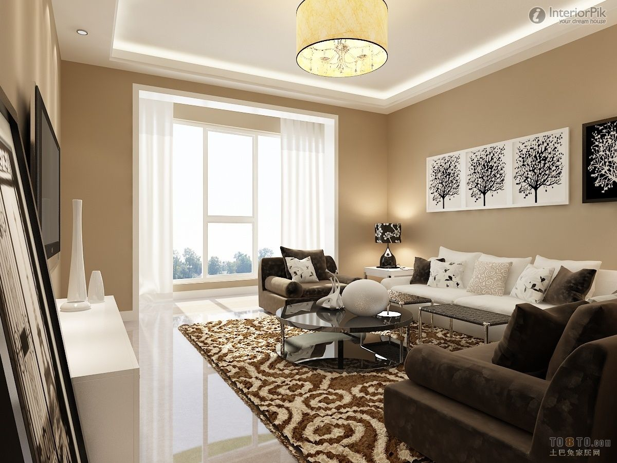 Delightful White Furniture, White Brown Sofa Furniture Living Room Decorating Luxury  Design Ideas With LCD TV Part 7