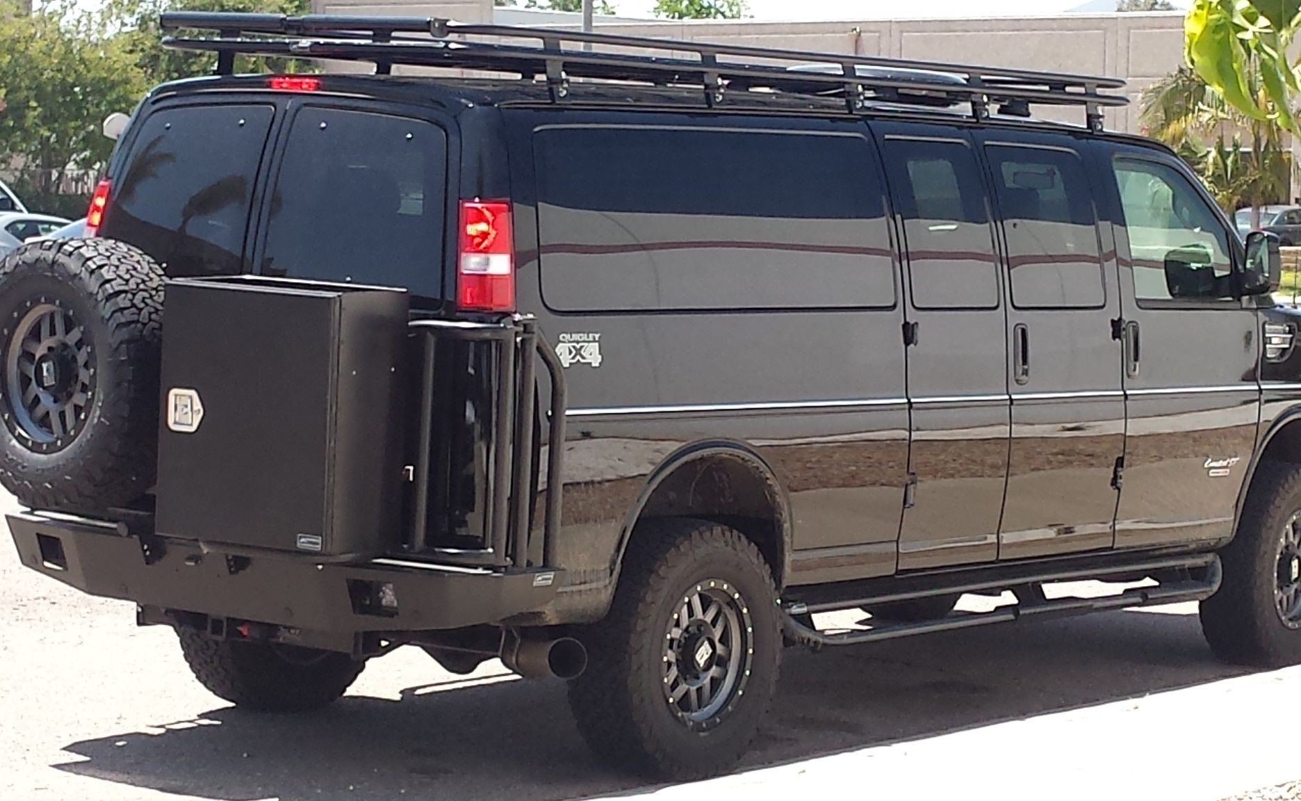 Pin On Chevy Vans With Aluminess Bumpers Roof Racks Ladders And