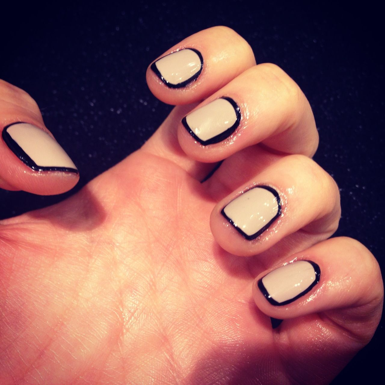 Nude and black outline nails beauty duo shades pinterest
