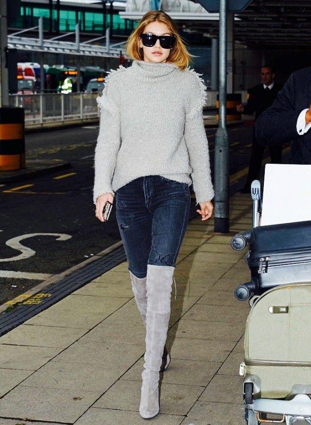 9d50b7c2906 Gigi Hadid wears a gray turtleneck sweater