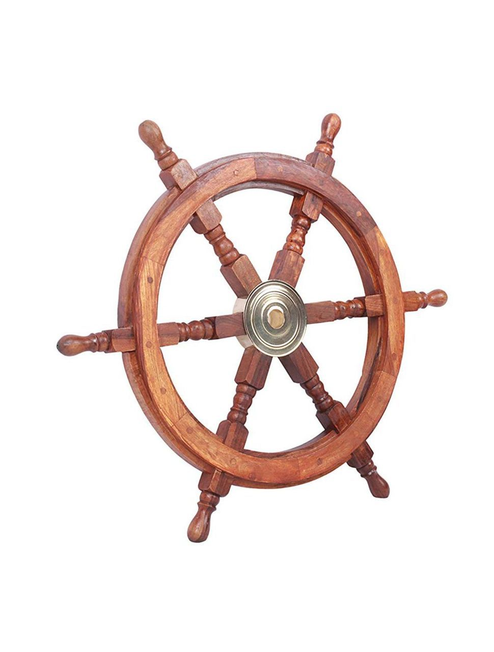 Boat Ships Steering Wheel 24 Teak Wood Brass Hub Nautical Decor In 2020 Ship Wheel Brass Ship Wooden Ship