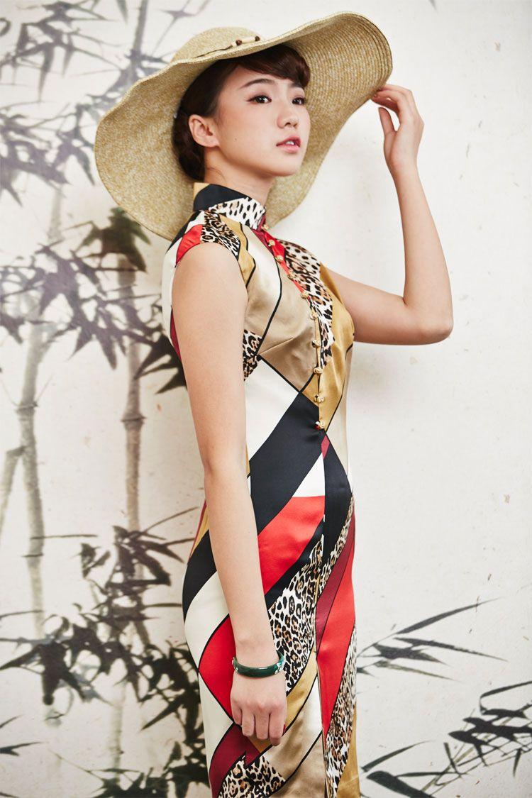 96b09db120 Modern Silk Qipao Multi-color Geometric Pattern w  Leopard Skin Print