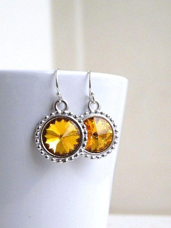 Swarovski Earrings Yellow Topaz Rivoli Sterling by SomsStudio, $16.00