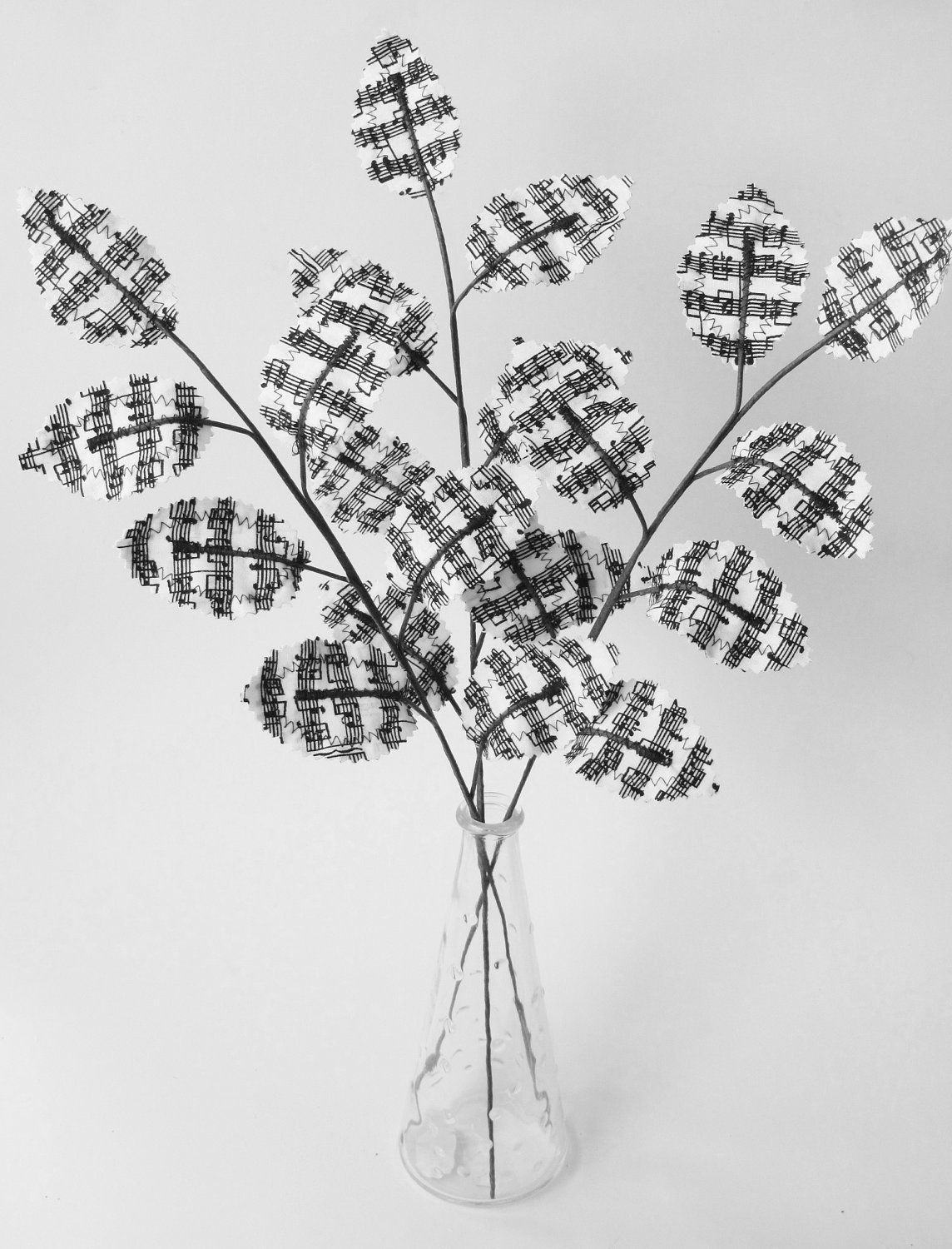 Fabric leaves black and white sheet music musical notes branches fabric leaves black and white sheet music musical notes branches gift idea for music lover reviewsmspy