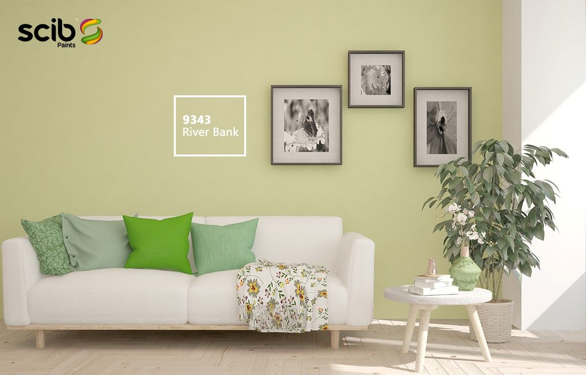 A Scandinavian Design With Walls Painted River Bank 9343 Beside A White Sofa And A White Side Table Topped W House Colors Luxury House Designs Interior Walls