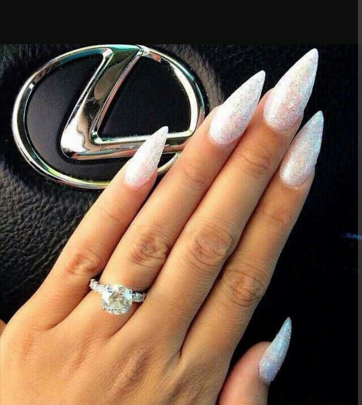 Discover Ideas About White Sparkle Nails Beautiful With Silver Glitter Stiletto
