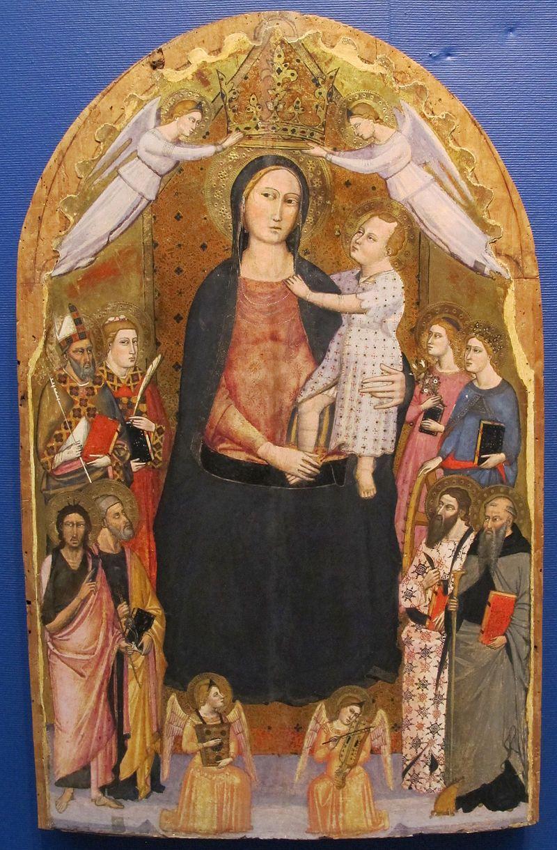 Maestro della predella dell'ashmolean, madonna col bambino, angeli e santi, 1350-1375 ca..JPG