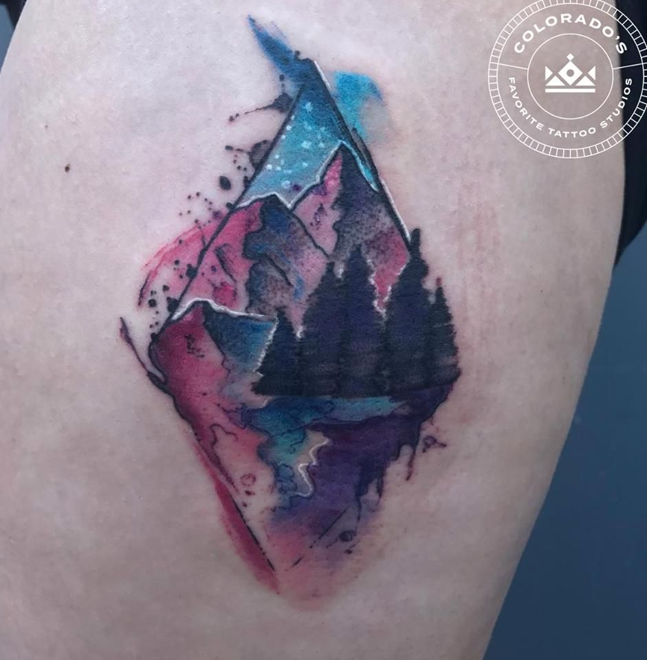 Watercolor Mountain Range Tattoo By Jeff Terrell At Certified