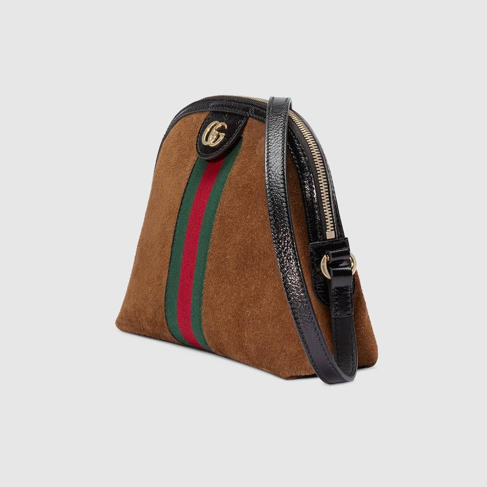 555fe503aeac Shop the Ophidia small shoulder bag by Gucci. Crafted in suede with inlaid  Web stripe