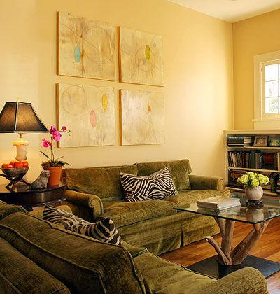 We have similar olive green sofas in our front sitting - Olive green living room ...