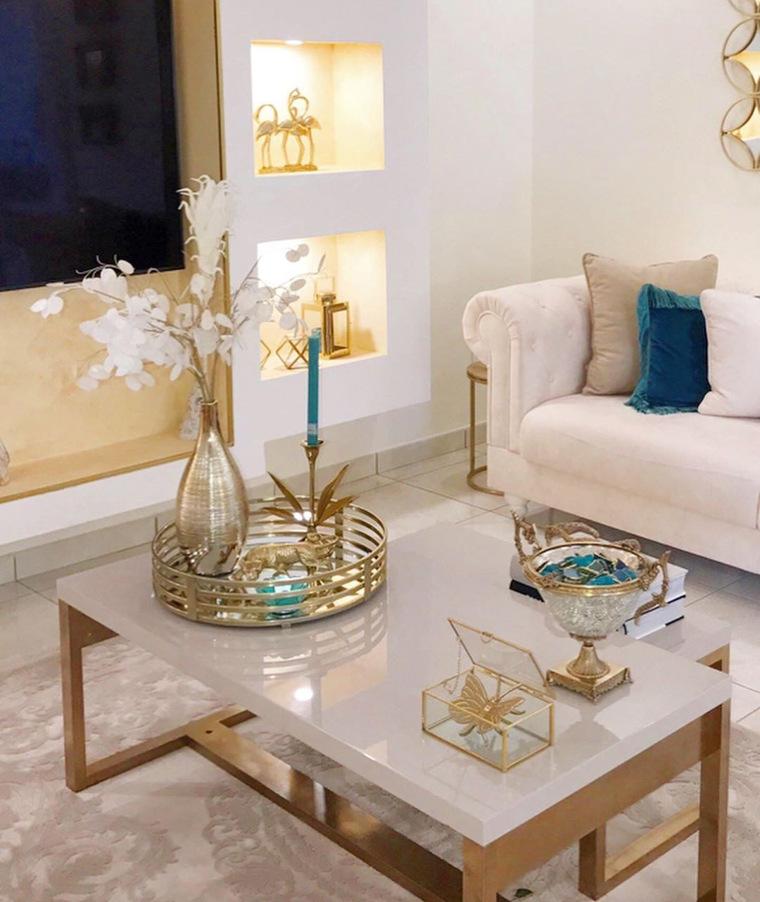 My Home Decor Design On Instagram Hello Insta Have A Nice Week You All I Made T Table Decor Living Room Gold Living Room Decor Blue Living Room Decor [ 1281 x 1080 Pixel ]