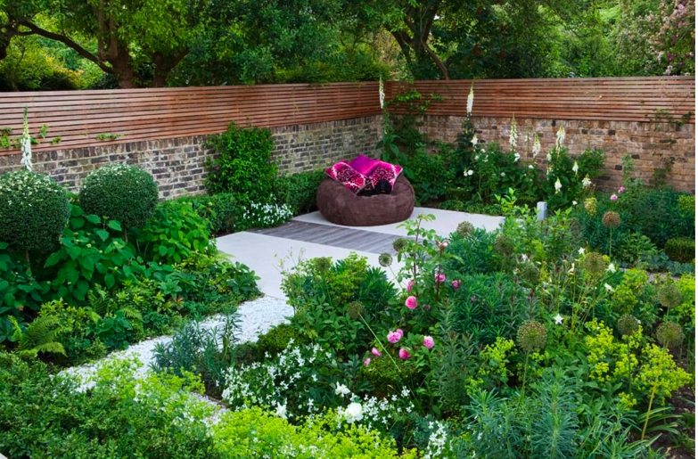 A family garden in Putney South West London, U. designed by London firm,  Charlotte Rowe Garden Design.