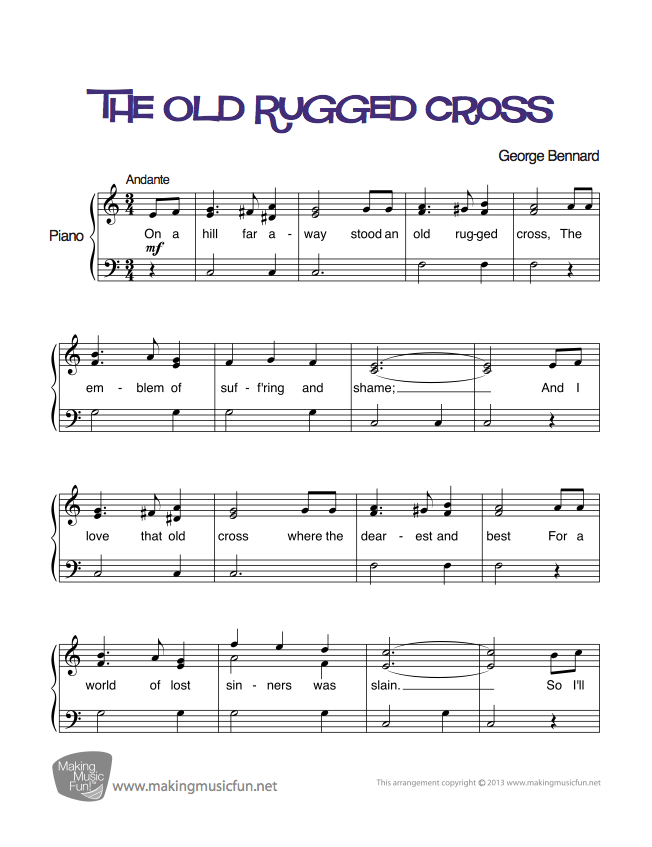 image about Old Rugged Cross Printable Sheet Music identified as The Aged Rugged Cross Very simple Piano Sheet Tunes (Electronic Print