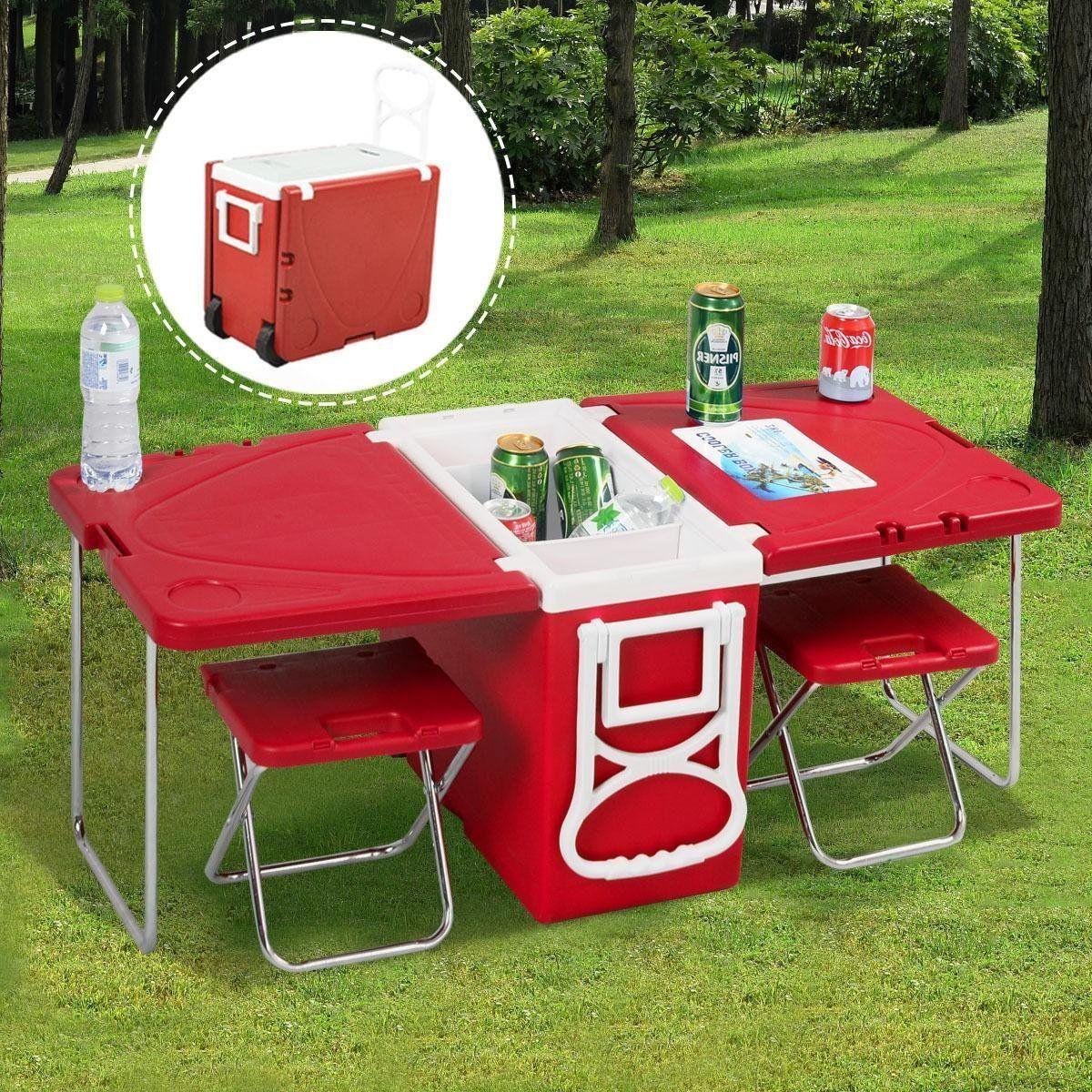 folding picnic tablemulti function rolling cooler picnic camping outdoor w table u0026 2
