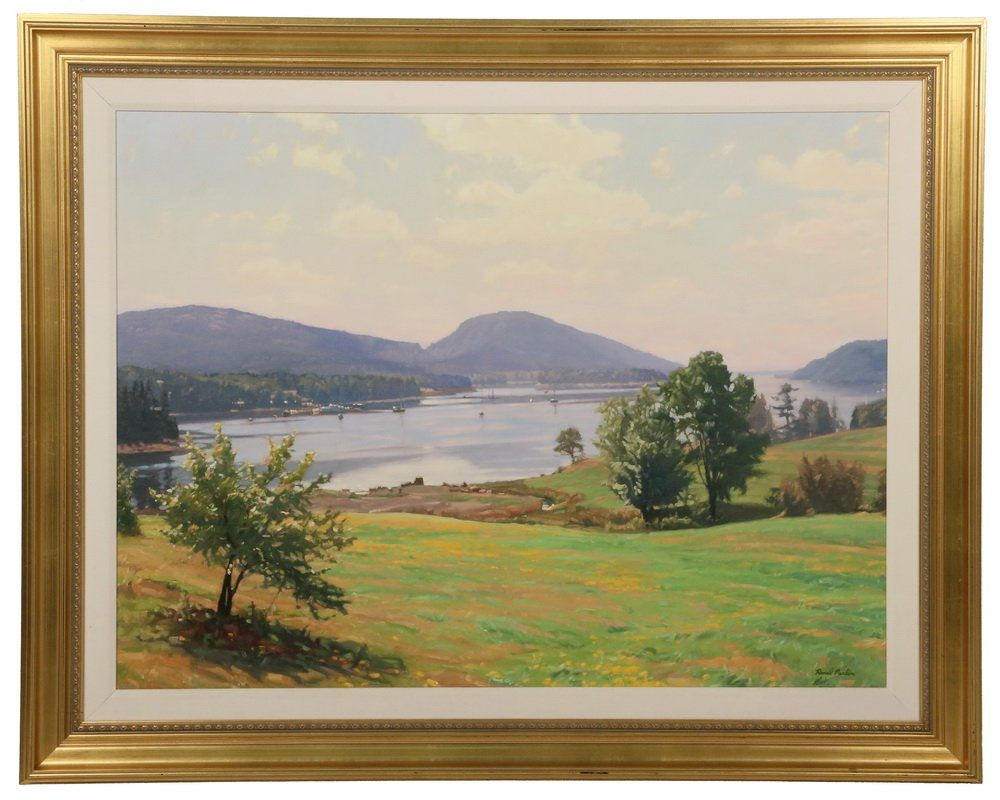 Ronal parlin contemporary maine somes sound acadia somes sound acadia somewhere over the rainbow oil on linen laid to panel signed lower right titled verso in gold molded frame with linen liner jeuxipadfo Images