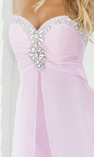 A-Line Chiffon Strapless Long Dress Charm87860
