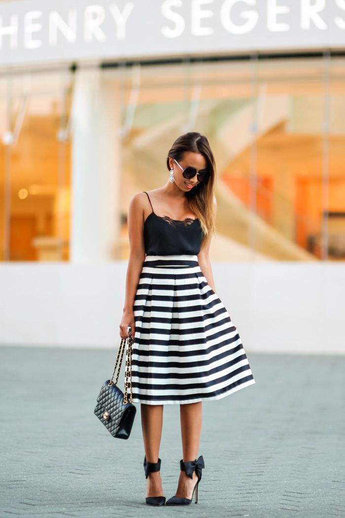 17 Best images about Striped Skirt Outfits on Pinterest | Peep toe ...