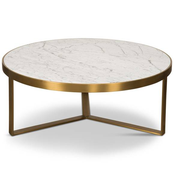 Upper East Side Coffee Table In Shiny Brass With Carrara Stone Stone Coffee Table Coffee Table Side Coffee Table