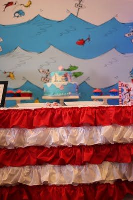 Dr Seuss Baby Shower Cute Back Drop Shower Curtain And Table
