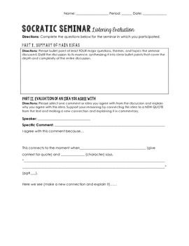 Socratic Seminar Listening Evaluation Worksheet  Avid Classroom