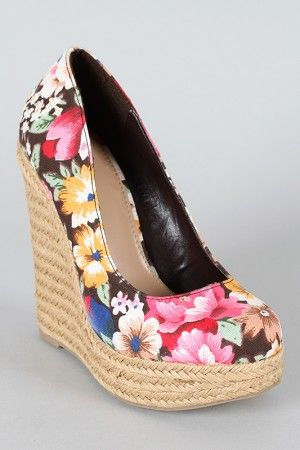 Floral Espadrille Wedge I want them,but I want them lower.Too high for me!
