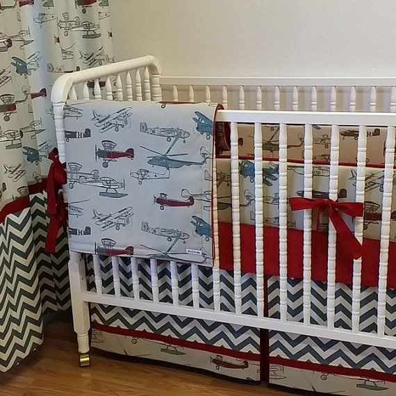 Airplane Baby Bedding Made To Order 4 Pc Vintage