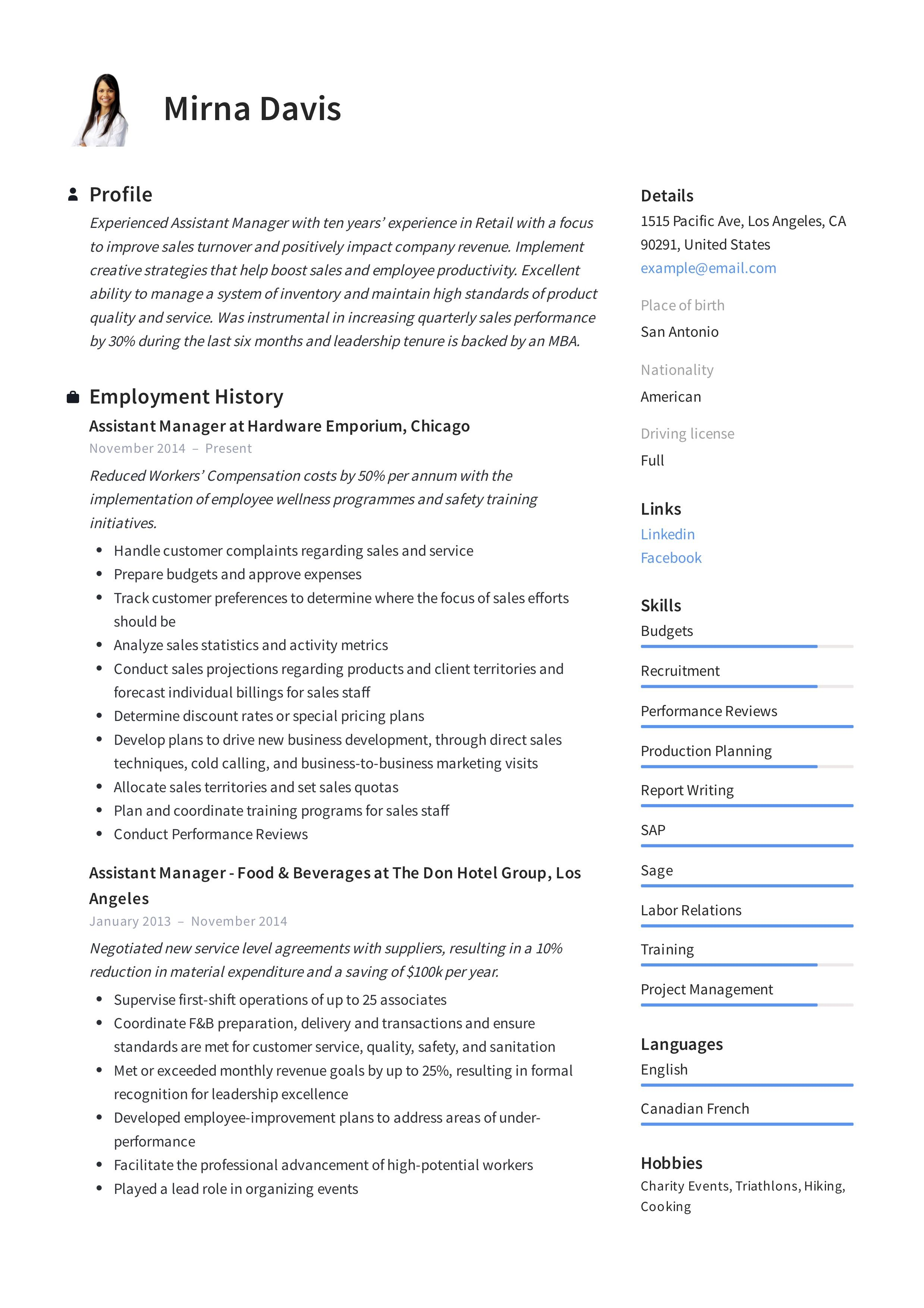 Assistant manager resume template teacher resume