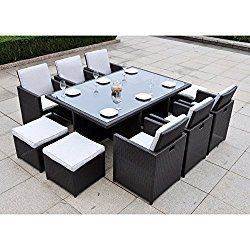 Dark Brown Modern 11 pc Resin Wicker Patio Dining Table Set | Contemporary Furniture to any Home Outdoor by the Porch, Veranda, Garden, Pool or Deck