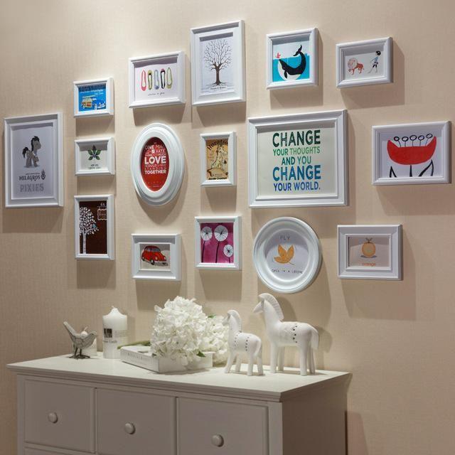 16 PCS/Set Home Decoration DIY Photo Frame Sets For Wall Huge Family ...