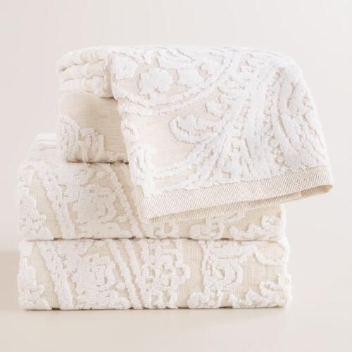 Alexandra Linen Flower Bath Towel | World Market