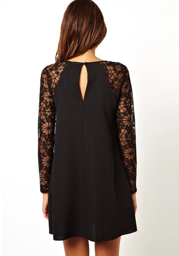 3d5ad03dc7b Black Plain Hollow-out Collarless Long Sleeve Nylon Dress - Mini Dresses -  Dresses