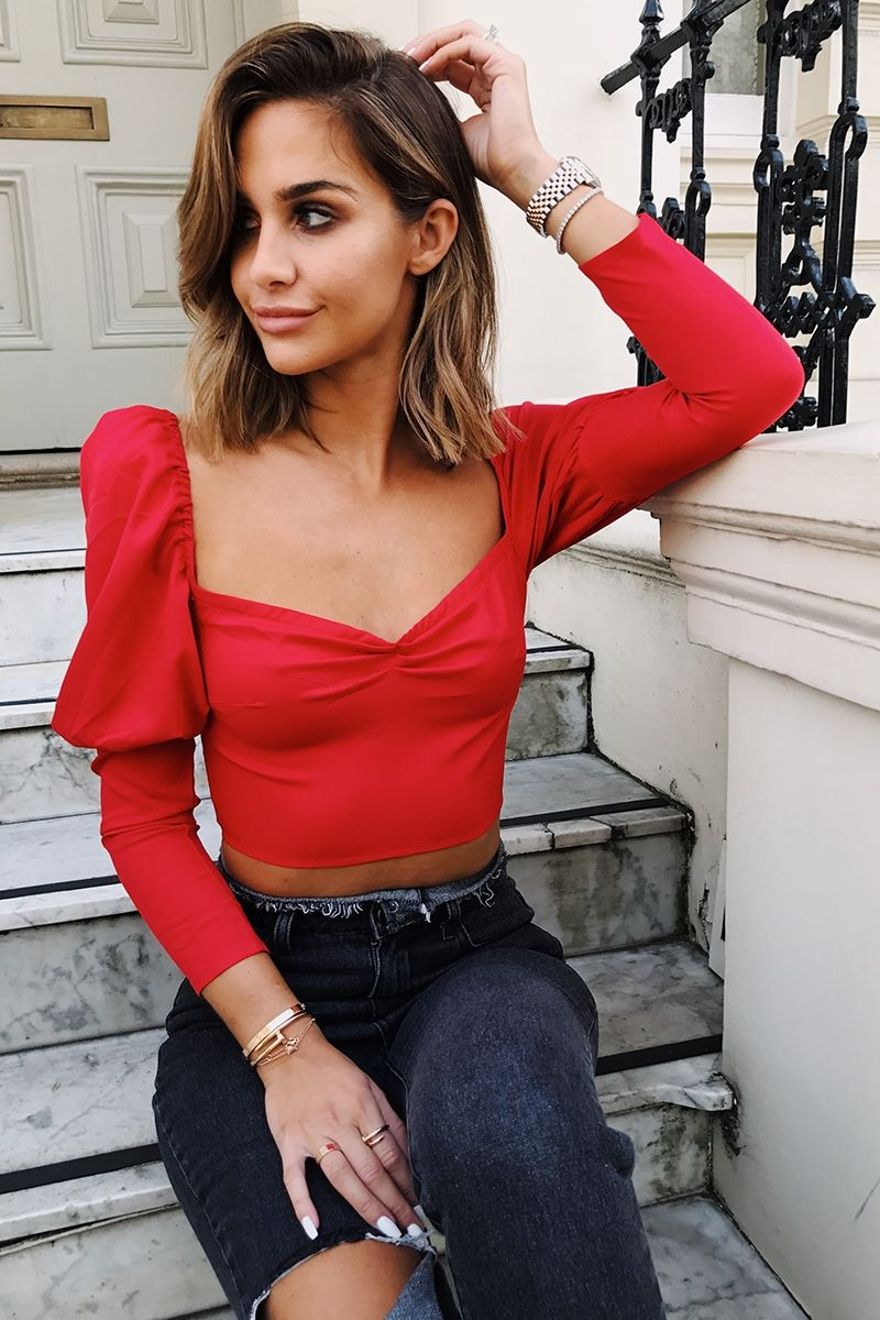 93a7ccfb868 Emily shak red puff sleeve crop top in 2019 | Emily Shak | Crop tops ...