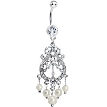 Ravishing faux pearl chandelier belly ring pearl chandelier body ravishing faux pearl chandelier belly ring mozeypictures Images