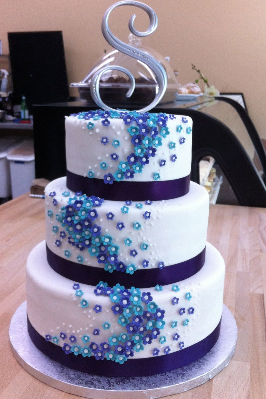 Square Tiered Cake Easy Design Purple And Blue
