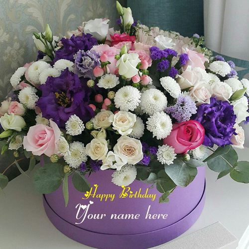 Flower Bouquet Birthday Wishes Cake With Name On It