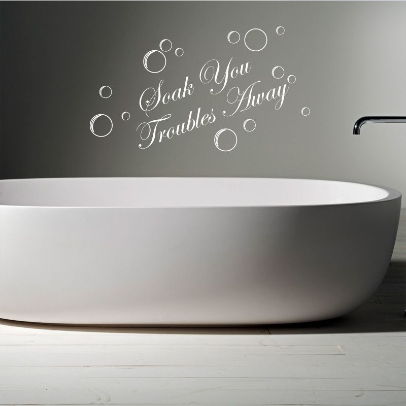 Troubles away bathroom words wall quotes sticker decal murals relax quote vinyl graphics home decor