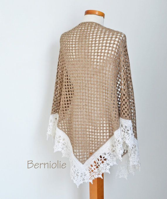 Crochet Shawl Beige With Creme Trim N349 By Berniolie On Etsy