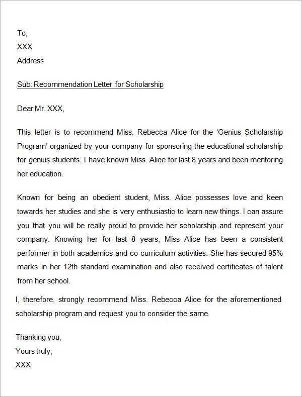 Sample Letter of Recommendation for Scholarship - 29+ Examples in - scholarship cover letter examples