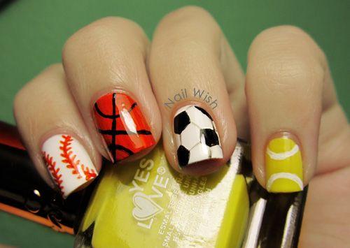 Sport Nails Nails Pinterest Sports Nail Art Makeup And Nail Nail