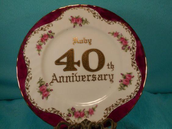 Ruby 40th Wedding Anniversary Gifts: 40Th Anniversary Gift- Vintage Ruby Anniversary Gift Plate