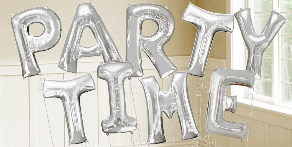 silver letter balloons party city