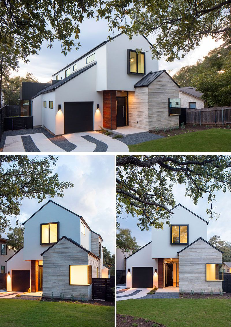 A Contemporary House With Peaked Roofs Arrives On This Street In ...