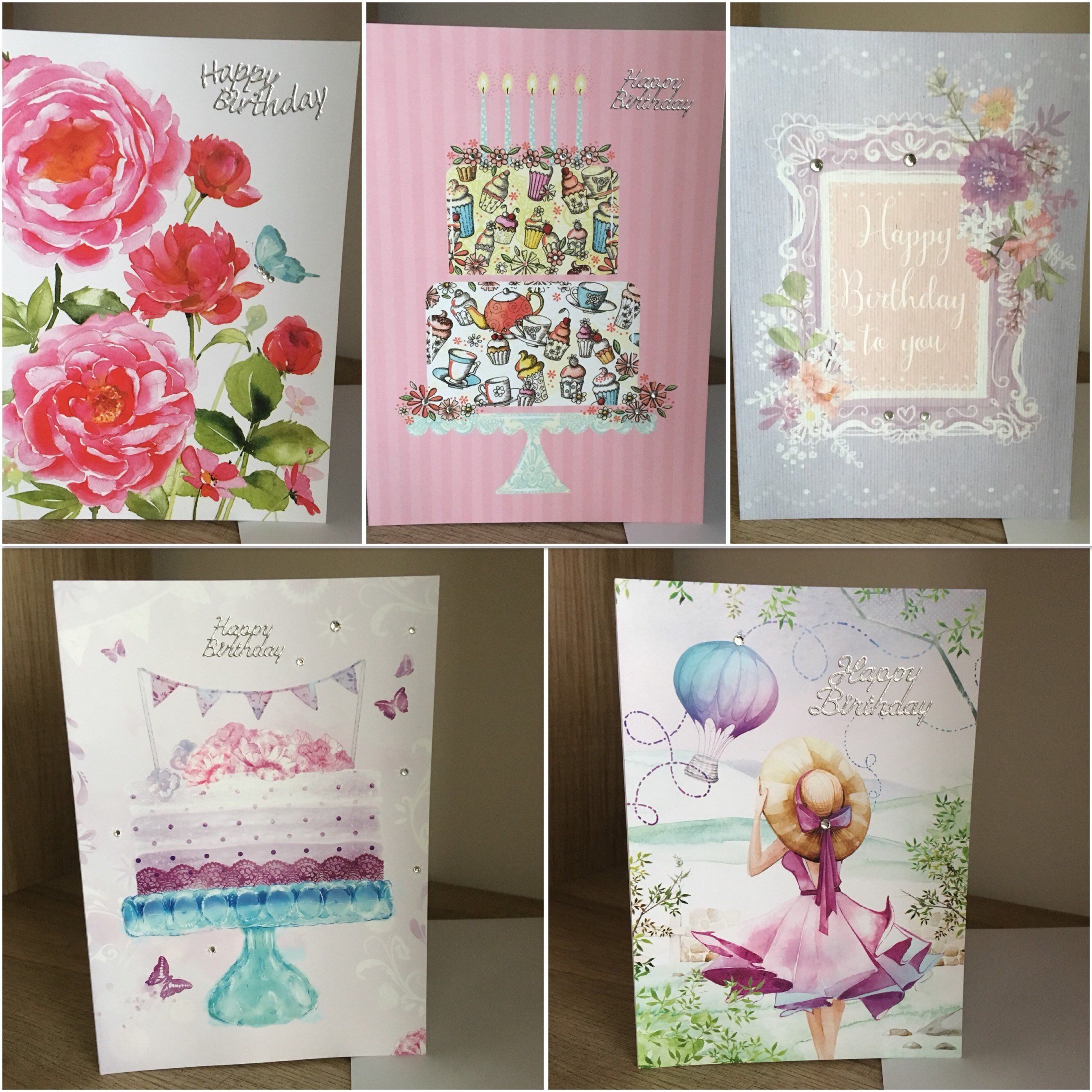 Pack of handmade birthday cards for women and girls with birthday