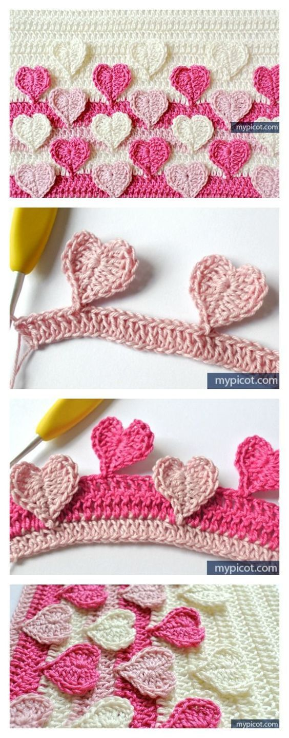 Hearts Multicolored Crochet Stitch Free Pattern - get ready for ...